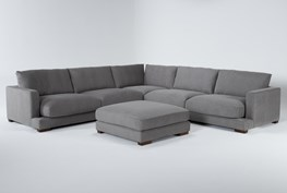 """Lindsey 3 Piece 129"""" Sectional And Ottoman"""