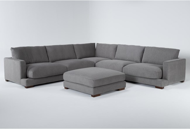 "Lindsey 3 Piece 129"" Sectional And Ottoman - 360"