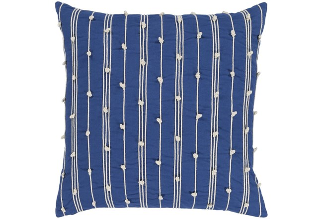 Accent Pillow - Blue + White Embroidered Knot Stripe 18X18 - 360