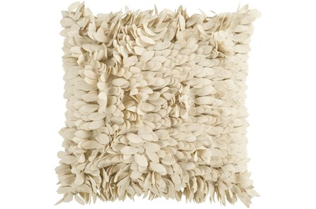 Accent Pillow- Cream Textured Petals 18X18 - Main