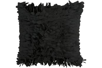 Accent Pillow - Black Textured Petals 18X18