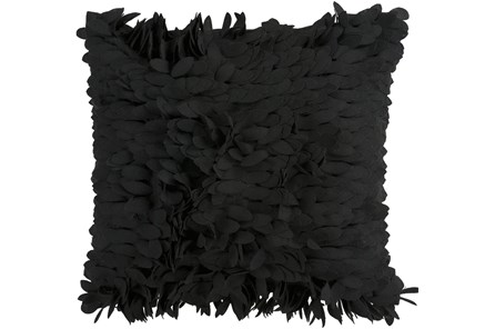 Accent Pillow - Black Textured Petals 18X18 - Main