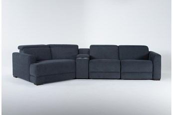 "Chanel Denim 4 Piece Sectional with Left Arm Facing Cuddle Chaise and 141"" Console"