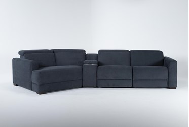 """Chanel Denim 4 Piece Sectional with Left Arm Facing Cuddle Chaise and 141"""" Console"""