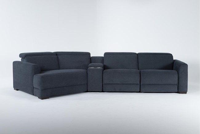"""Chanel Denim 4 Piece Sectional with Left Arm Facing Cuddle Chaise and 141"""" Console - 360"""