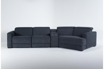 "Chanel Denim 4 Piece Sectional With Right Arm Facing Cuddle chaise and 141"" Console"