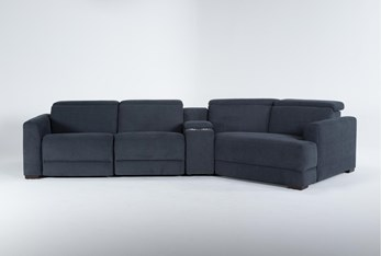 """Chanel Denim 4 Piece Sectional With Right Arm Facing Cuddle chaise and 141"""" Console"""