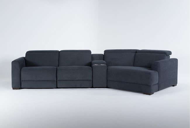 """Chanel Denim 4 Piece Sectional With Right Arm Facing Cuddle chaise and 141"""" Console - 360"""