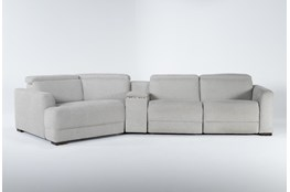"Chanel Grey 4 Piece Sectional With Left Arm Facing Cuddle Chaise and 141"" Console"