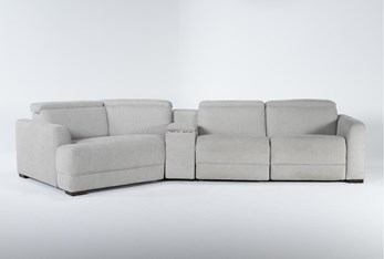 """Chanel Grey 4 Piece Sectional With Left Arm Facing Cuddle Chaise and 141"""" Console"""