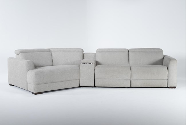 """Chanel Grey 4 Piece Sectional With Left Arm Facing Cuddle Chaise and 141"""" Console - 360"""