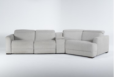 """Chanel Grey 4 Piece Sectional With Right Arm Facing Cuddle Chaise and 141"""" Console"""