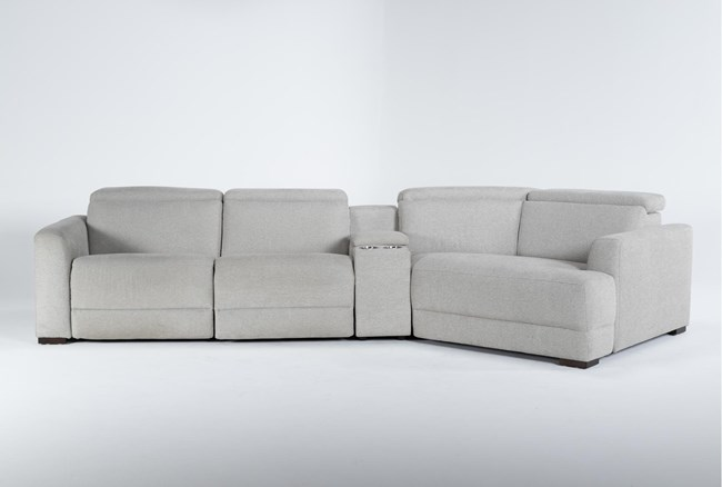 """Chanel Grey 4 Piece Sectional With Right Arm Facing Cuddle Chaise and 141"""" Console - 360"""