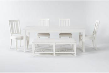 Presby White 6 Piece Extension Dining Set