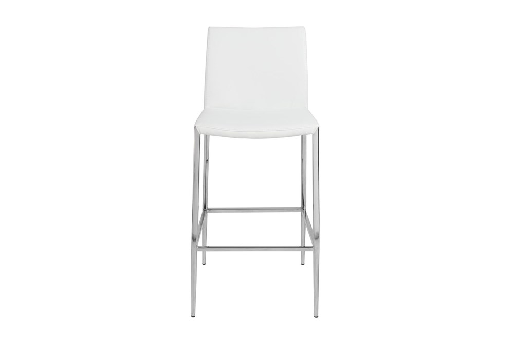 """White Vegan Leather And Stainless Steel 26"""" Counterstool"""