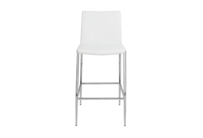 """White Vegan Leather And Stainless Steel 26"""" Counterstool - 360"""