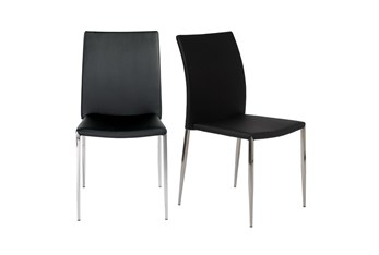 Black Vegan Leather And Stainless Steel Stacking Side Chair-Set Of 2