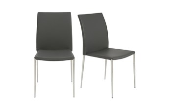 Grey Vegan Leather And Stainless Steel Stacking Side Chair-Set Of 2