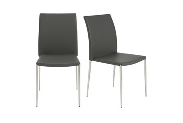 Grey Faux Leather And Stainless Steel Stacking Side Chair-Set Of 2