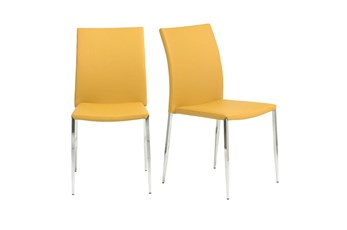 Saffron Vegan Leather And Stainless Steel Stacking Side Chair-Set Of 2