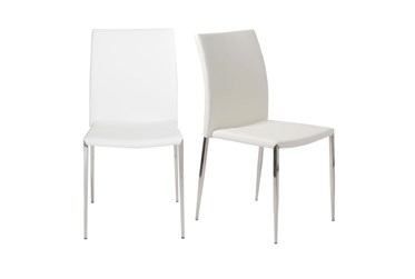White Faux Leather And Stainless Steel Stacking Side Chair-Set Of 2