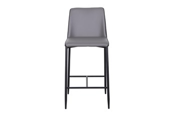 "Two Tone Grey Fabric And Vegan Leather 26"" Counterstool"