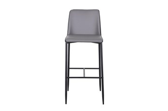 """Two Tone Grey Fabric And Vegan Leather 30"""" Barstool"""
