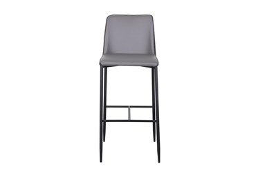 Two Tone Grey Fabric And Faux Leather 30 Inch Barstool