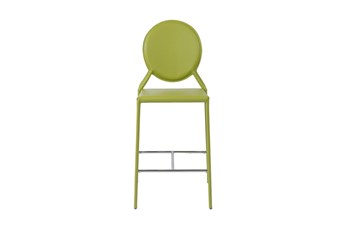 "Oval Back Green Leather-Like Upholstered 26"" Counterstool-Set Of 2"