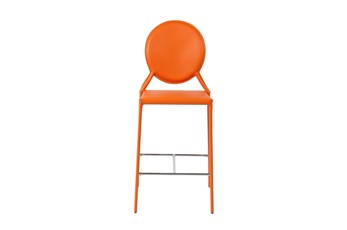 "Oval Back Orange Leather-Like Upholstered 26"" Counterstool-Set Of 2"