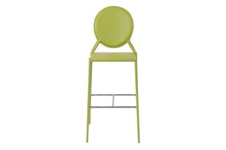 Oval Back Green Leather-Like Upholstered 30