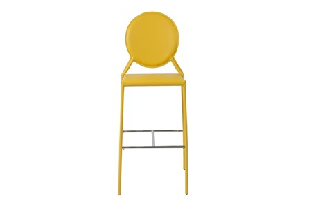 Oval Back Yellow Leather-Like Upholstered 30