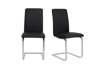Black Vegan Leather And Stainless Steel Cantilever Side Chair-Set Of 2