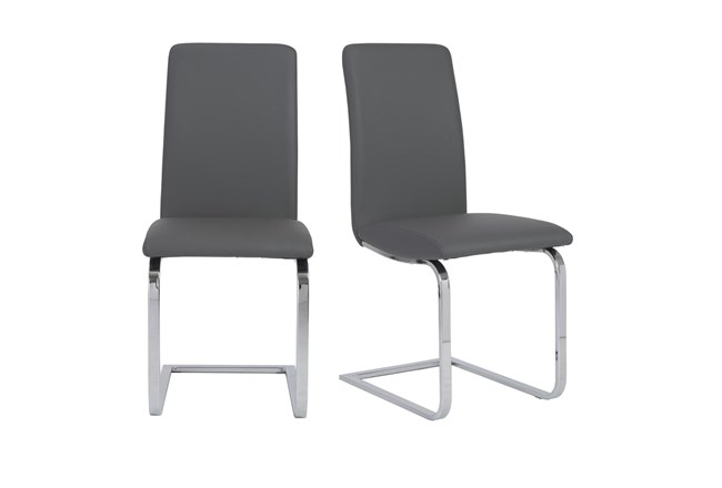 Grey Vegan Leather And Stainless Steel Cantilever Side Chair-Set Of 2 - 360