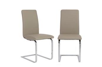 Taupe Vegan Leather And Stainless Steel Cantilever Side Chair-Set Of 2