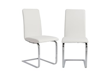 White Faux Leather And Stainless Steel Cantilever Side Chair-Set Of 2