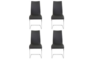 Black Vegan Leather And Chrome Cantilever Side Chair-Set Of 4
