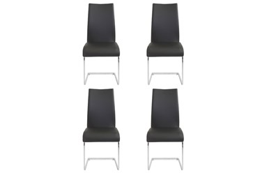 Black Faux Leather And Chrome Cantilever Side Chair-Set Of 4