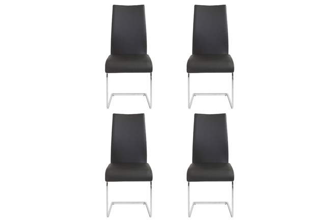Black Vegan Leather And Chrome Cantilever Side Chair-Set Of 4 - 360