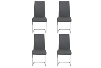 Grey Vegan Leather And Chrome Cantilever Side Chair-Set Of 4