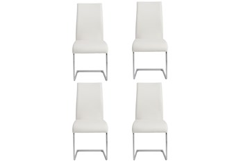 White Vegan Leather And Chrome Cantilever Side Chair-Set Of 4