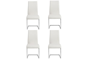 White Faux Leather And Chrome Cantilever Side Chair-Set Of 4