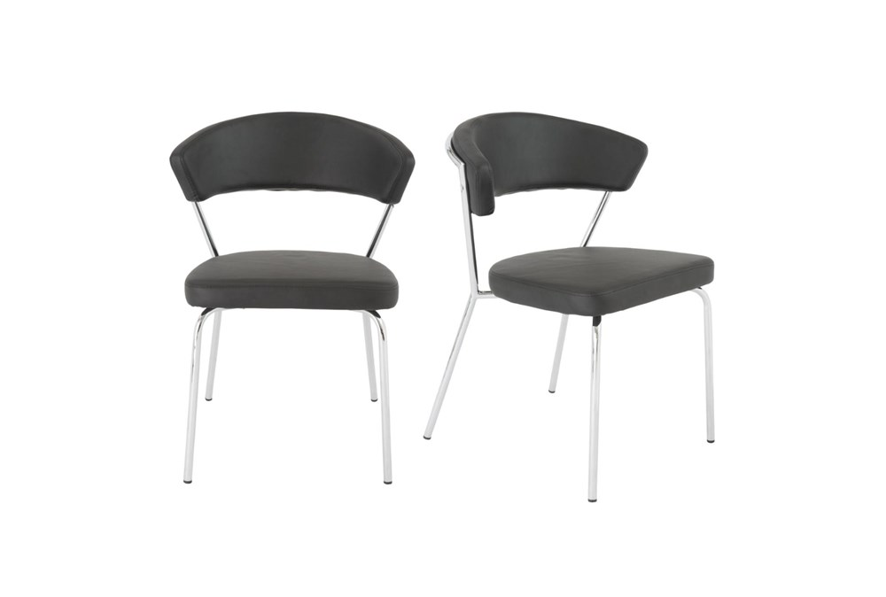 Black Vegan Leather And Chrome Curved Back Dining Chair-Set Of 2