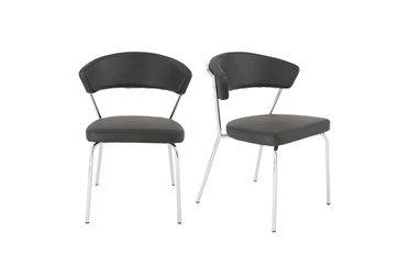 Black Faux Leather And Chrome Curved Back Dining Chair-Set Of 2