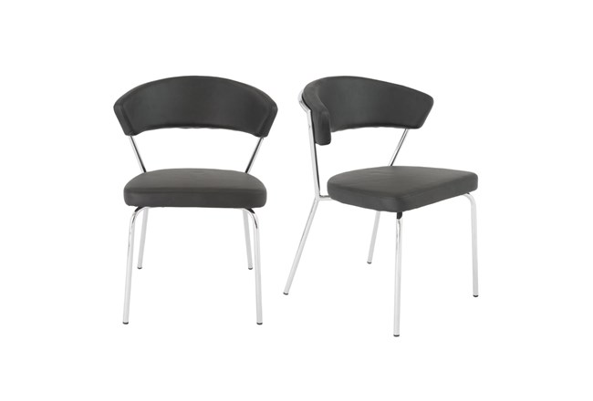Black Vegan Leather And Chrome Curved Back Dining Chair-Set Of 2 - 360