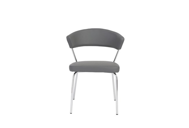 Grey Vegan Leather And Chrome Curved Back Dining Chair-Set Of 2 - 360