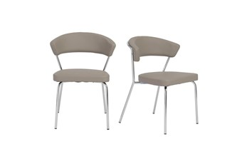 Taupe Vegan Leather And Chrome Curved Back Dining Chair-Set Of 2