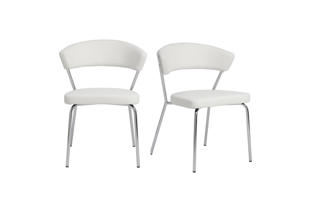 White Faux Leather And Chrome Curved Back Dining Chair-Set Of 2