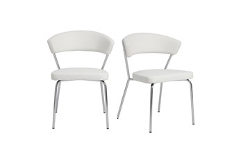 White Vegan Leather And Chrome Curved Back Dining Chair-Set Of 2