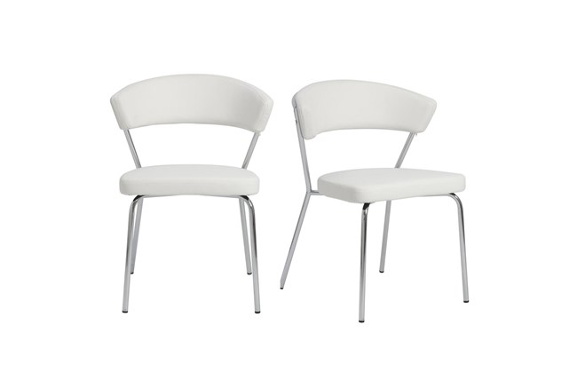White Faux Leather And Chrome Curved Back Dining Chair-Set Of 2 - 360